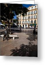 Scupture Of Picasso On The Plaza De La Greeting Card