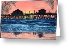 Sd Dock At Sunset Greeting Card