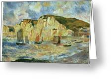 Sea And Cliffs Greeting Card by Pierre-Auguste Renoir