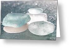 Sea Glass Aqua Shimmer Greeting Card by Barbara McMahon