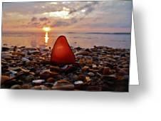 Sea Glass Sunrise And Shells 9 10/18 Greeting Card