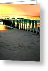 Sea Gulls On Pilings At Sunset Greeting Card