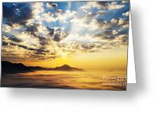Sea Of Clouds On Sunrise With Ray Lighting Greeting Card