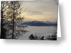 Sea Of Fog In Sunset Greeting Card