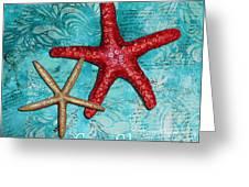 Sea Shore Original Coastal Painting Colorful Starfish Art By Megan Duncanson Greeting Card