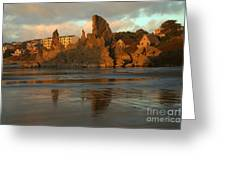 Sea Stacks And The City Greeting Card