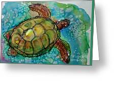 Sea Turtle Endangered Beauty Greeting Card by M C Sturman