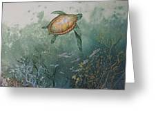 Sea Turtle Greeting Card by Nancy Gorr