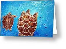 Sea Turtles Swimming Towards The Light Together Greeting Card