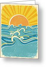 Sea Waves And Yellow Sun On Old Paper Greeting Card