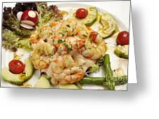 Seafood Cocktail With Avocado And Asparagus Greeting Card