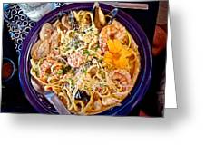 Seafood Fetticinni Alfredo At Cafe Cups Restaurant In Homer-ak   Greeting Card