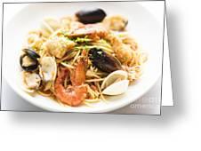 Seafood Pasta Dish Greeting Card