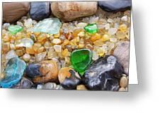Seaglass Art Prints Coastal Beach Sea Glass Greeting Card by Baslee Troutman