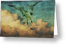 Seagull In The Clouds Greeting Card