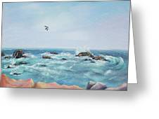 Seagull Over The Ocean Greeting Card