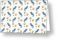 Seahorse And Shells Pattern Greeting Card