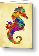 Seahorse Watercolor Art Greeting Card