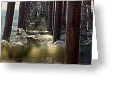 Seal Beach Pier Surf Greeting Card