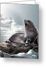 Harp Seal And Native Hunters Greeting Card