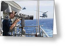 Seaman Apprentice Stands Watch Aboard Greeting Card