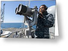 Seaman Stands Lookout Aboard Greeting Card