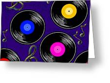 Seamless Music Pattern With Vinyl Greeting Card