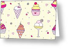 Seamless Pattern Delicious Ice Cream Greeting Card