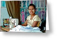 Seamstress At Her Sewing Machine In Tachilek-burma Greeting Card