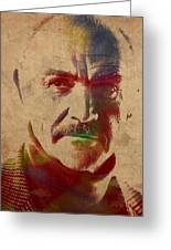 Sean Connery Actor Watercolor Portrait On Worn Distressed Canvas Greeting Card