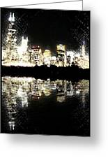 Sears Tower Dominated Skyline Lake Reflection  Greeting Card