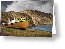 Seasacape With Boat Greeting Card
