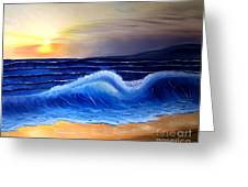 Seascape Wave Greeting Card by Barbara Pelizzoli