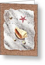 Seashell Pearls And Water Drops Collection Greeting Card