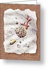 Seashells Coral Pearls And Water  Drops Greeting Card