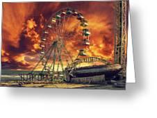 Seaside Ferris Wheel Greeting Card by Kim Zier