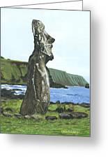 Seaside Moai Greeting Card