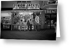 Seaside Union Jacks Greeting Card by David Riccardi