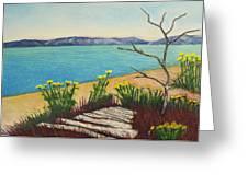 Seaside Island Beach With Flowers Greeting Card