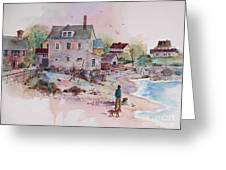 Seaside Village Greeting Card by Sherri Crabtree