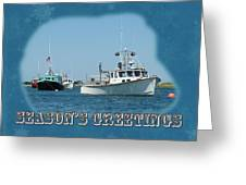 Season's Greetings Holiday Card - Boats In Peaceful Harbor Greeting Card