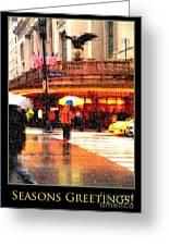 Season's Greetings - Yellow And Blue Umbrella - Holiday And Christmas Card Greeting Card