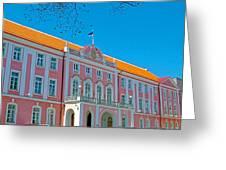 Seat Of Parliament In Old Town Tallinn-estonia Greeting Card