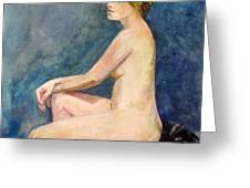 Seated Blond Nude Greeting Card