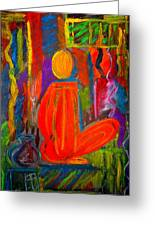 Seated Monk Greeting Card