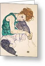 Seated Woman With Legs Drawn Up. Adele Herms Greeting Card