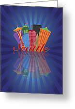 Seattle Abstract Skyline Reflection Background Illustration Greeting Card