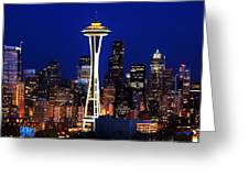Seattle By Night Greeting Card