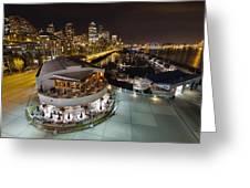Seattle City Skyline And Marina At Night Greeting Card