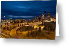 Seattle City Skyline At Blue Hour Greeting Card